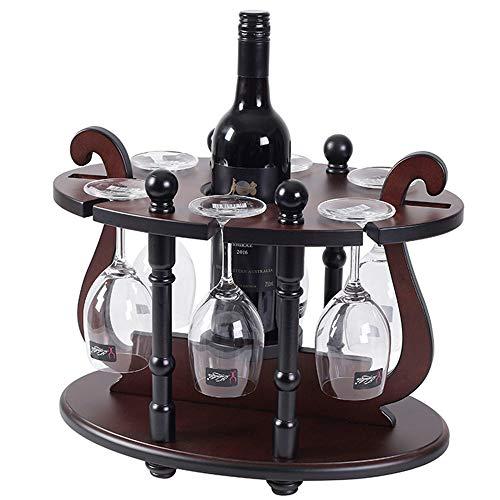 GEPFD-WINRK Weinglashalter,Runde Ding Weinregal,Massivholz kreative Weinständer mit 6 Glas Rack & 1 Flaschenhalter (40 x 26 x 32 cm) -