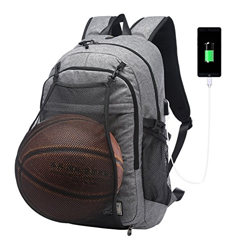 Sac à dos ordinateur portable 15.6 pouces avec pliable Basketball Net et port de Chargement USB Externe imperméable Sac pour/Affaires/collège,Homme et...