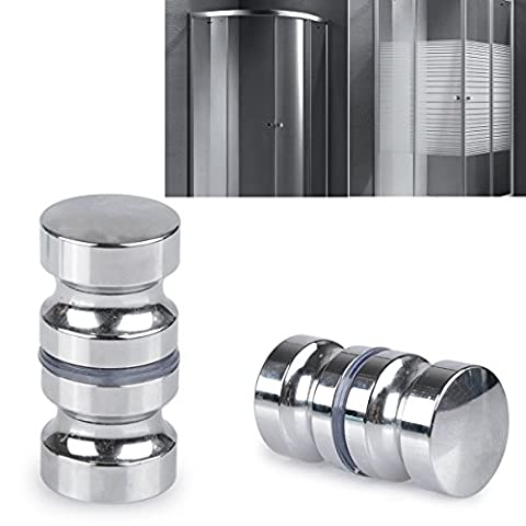 SHiZAK 2 Pack Stainless Steel Shower Screen Round Back-to-Back Door Handle Door Knob Replacement Polished Chrome