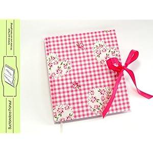 Tagebuch Notizbuch pink weiß kariert mit Herzen