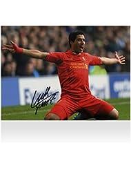 Iconos tienda Unisex iclslp3Luis Suárez Firmado Liverpool foto: meta vs Everton, multicolor, na