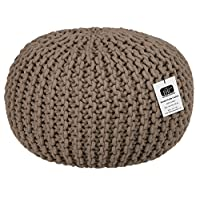 EHC 100% Cotton Round Handmade Double Knitted Foot Stool Braided Cushion Pouffe, Latte