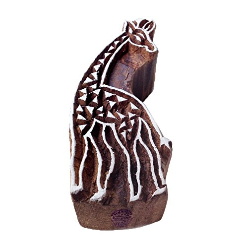 Intricate Giraffe Animal Motif Wooden Stamp for Printing