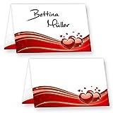 Tischkarten Hochzeit Liebe (80 Stück) hinreissend schöne Platzkarten mit roten Herzen