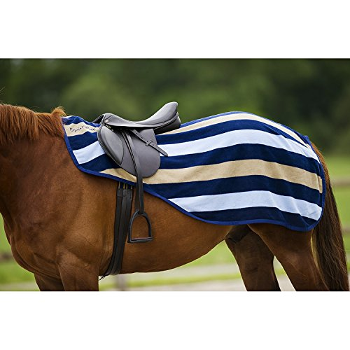 Equi-Theme-Stripe-Collection-Newmarket-Fleece-Exercise-SheetQuarter-Kidney-Rug-4-Different-Colours-NavyLight-BlueBeige-135cm-UK56-UK60