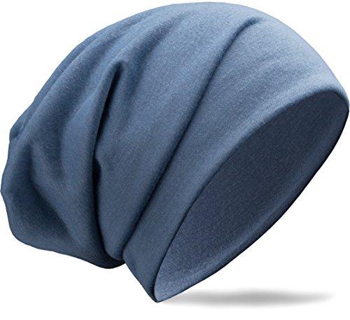 NavyBlu® klassische slouch lang Beanie Mütze aus feinstem Viscose Stoff Uni unifarben hellblau M43-5