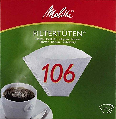 Melitta Filtertüten 106, Weiß, 100 Stück