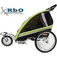 RBO Remolque de Bicicleta para niños Travel, 2 PLAZAS, Plegado rapido, antivuelvo,