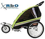 RBO Remolque de Bicicleta para niños Travel, 2 PLAZAS, Plegado rapido, antivuelvo, Manillar Regulable, Rueda 360, Frenos Independientes.