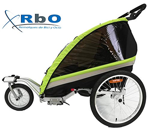 RBO509 Remolque de Bicicleta para niños Travel, 2 PLAZAS, Plegado rapido, antivuelvo, Manillar Regulable...