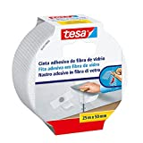 Tesa 05255-00003-02 - Cinta para reparación de paredes dañadas (fibra de vidrio, 25 m x 50 mm) color blanco