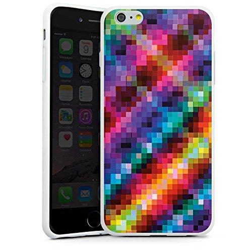 Apple iPhone X Silikon Hülle Case Schutzhülle Pixel Bunt Muster Silikon Case weiß