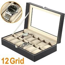 SODIAL(R) 12 Grid Faux Leather Watch Display Box Case Black