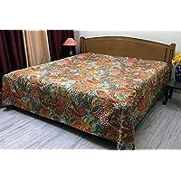 Stylo Culture Indische Tagesdecke Schlafzimmer Kantha Gesteppte Tagesdecke  Double Orange Baumwolle Paisley Hand Genäht Bettwäsche Bettdecke