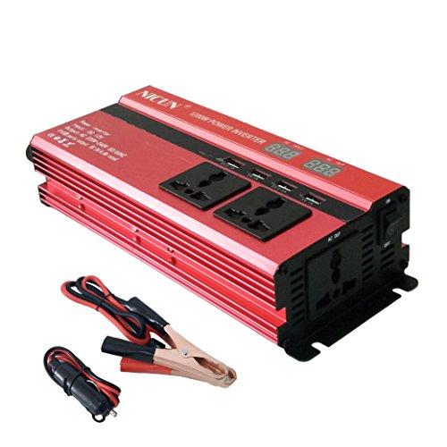 600W / 1200W Wechselrichter, Digital anzeige Spannungswandler DC 12V auf AC 220V / 230V / 240V Steckdose, Auto / Batterie / Solar strom wandler Konverter mit 3 AC Steckdosen & 4 USB Ports