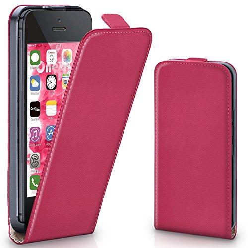 iPhone 5S Hülle Dunkel-Rot [OneFlow 360° Klapp-Hülle] Etui thin Handytasche Dünn Handyhülle für iPhone 5/5S/SE Case Flip Cover Schutzhülle Kunst-Leder Tasche BERRY-FUCHSIA