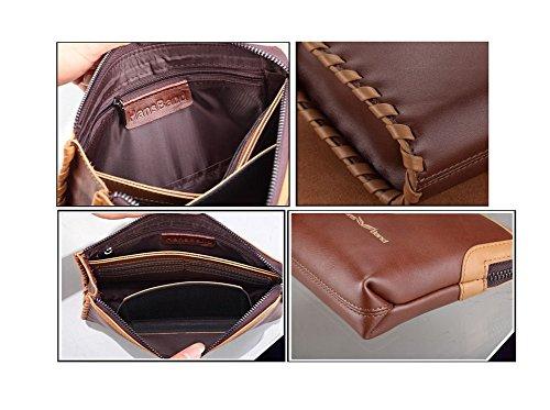 H&W Clutch Leder Unterarmtasche Handgelenktasche Geldbörse Portemonnaie für Herren Braun #10