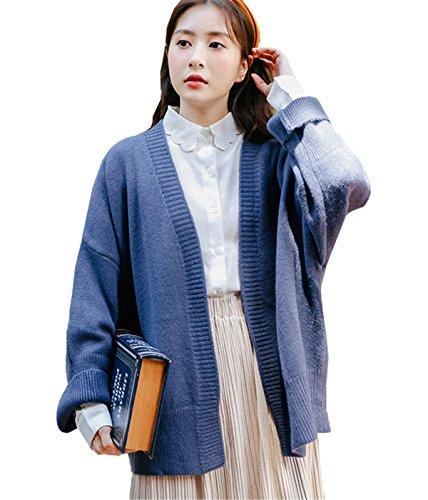 JOTHIN Autunno Invernali lunghi Knit Giacca Manica lunga Maglioni larghi Tinta Unita Maglia Cardigan Eleganti Maglieria Donna Blu