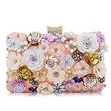 LLUFFY-Clutch Pochette Borsa per banchetto a mano, borsa diagonale per le spalle, borsa a catena con perline fiore, adatta per feste, balli, matrimoni, feste, 20 * 14 * 6cm, rosa
