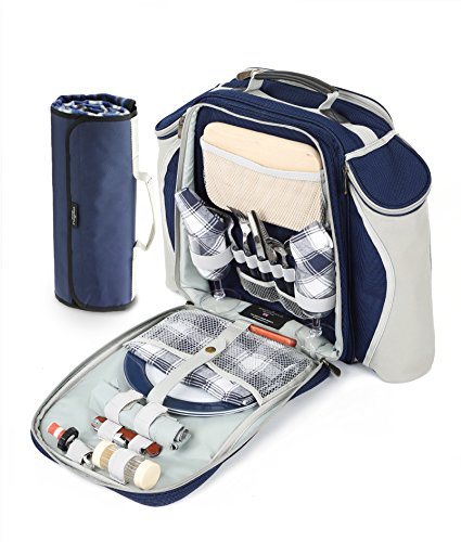 Greenfield Collection Super Deluxe Zaino da picnic per due persone in blu navy con coperta da picnic Navy Blu