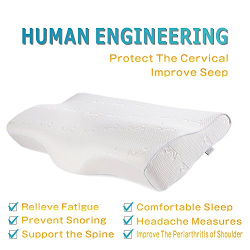 iCoudy Cervical Contour Bed Pillow for Neck Pain and Side Sleeper,Queen Size Memory Foam Sleeping Pillow for Back and Shoulders with Washable Cover white