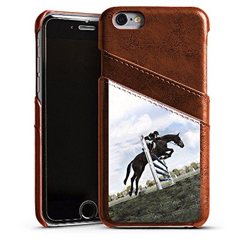 Apple iPhone 5s Housse étui coque protection Cheval Équitation Faire du cheval Étui en cuir marron
