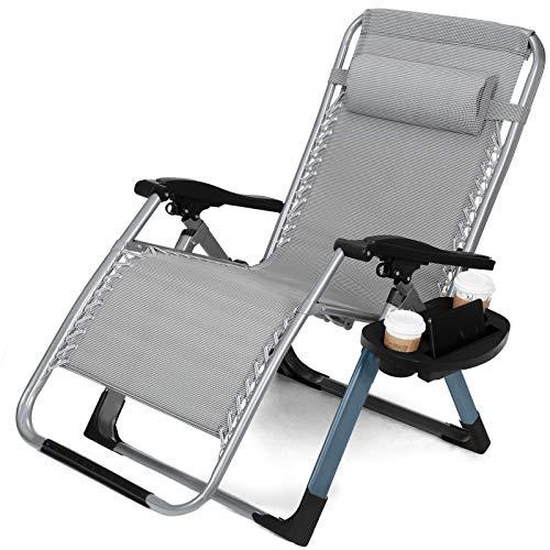 JFJL Verbesserte Schwerlast-Schwerelosigkeit-Sessel Lounge Recliner Büro Patio Folding einstellbar tragbare W/Square Leg & Cup Holder Unterstützung 330 LBS -