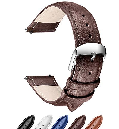 Echtes Leder Uhrenarmband, SONGDU Smart Watch Armband Schnellverschluss Ersatzband für Herren Damen mit Edelstahl Metall Schließe 18mm, 20mm, 22mm (18mm, Dunkelbraun)