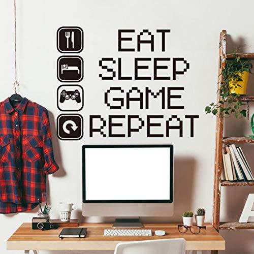 Yzybz Kunst Design Billige Dekoration Eat Sleep Spiel Wiederholen Wandtattoos Abnehmbare Bunte Haus Dekor Pvc-Aufkleber In Den Zimmern