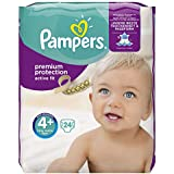 Pampers Active Fit – Couches, taille 4 + , 9-18 kg, 24 couches,  (4 x 24 pièces), 1 paquet = 1 vaccination