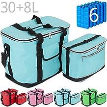 Kühltaschen-Set IBIZA 30+8 Liter mit 6 Kühlakkus für Picknick, Grillen, Wandern, Ausflüge, Urlaub