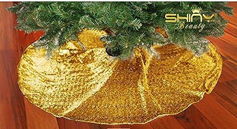 Weihnachten Dekorationen Rose Gold Weihnachtsbaum Rock Pailletten Stoff Weihnachtsbaum Dekoration unten Decoration(125cm)