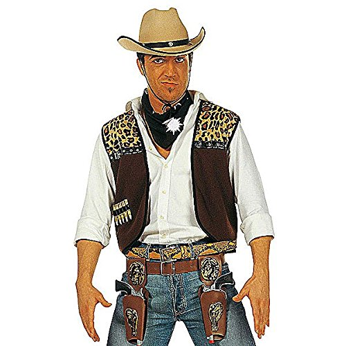 WIDMANN WDM4300C - Costume Per Adulti Gilet Cowboy con Bandana, Marrone, M