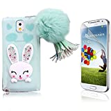 Samsung Galaxy Note 3 Funda, Bonice 3D Cute Cartoon Rabbit Case Transparent Suave TPU Bling Animal Carcasa Ultra Delgado + HD Screen Protector - Conejo Azul