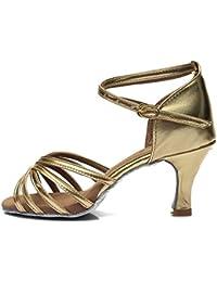 CFP - Zapatillas de danza mujer , color Dorado, talla 39,5 EU(6 cm)