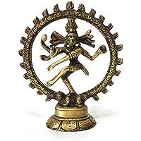 Figura Decorativa con Personaje Shiva Nataraj Rueda Fabricada en Latón, Altura 10,5 cm Grande, Dios de Asia Señor de la Danza
