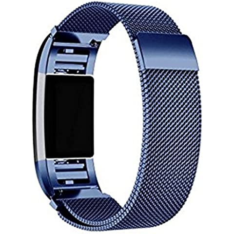 """Fitbit Charge 2 Metal Band, SoftFloat Accessories Milanese Loop Stainless Steel Metal Bracelet Strap with Unique Magnet Lock for Fitbit Charge 2 HR Fits 5.5"""" - 9.3"""" wrist (blue)"""