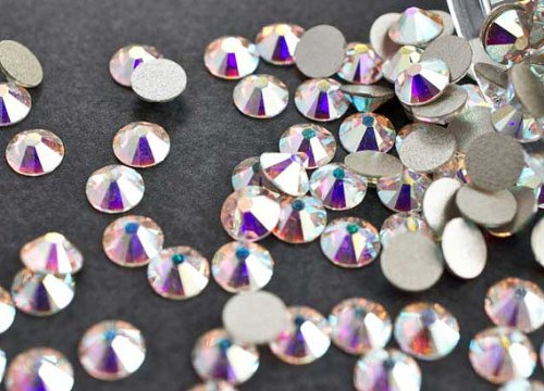 2058 Crystal (Swarovski SS10 2058 Swarovski-Kristalle, flache Rückseite, mit Folie, Farbe Crystal AB, 2,8mm, 60Stück je Packung)