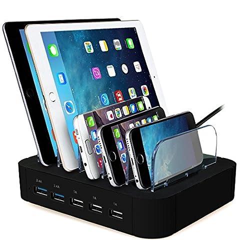 AcTopp-Estacin-de-Carga-5-Puertos-USB-Quick-Charge-Includo-Base-de-Carga-Universal-Cargador-Inteligente-Organizador-de-Cables-Soporte-de-Carga-Desmontable-para-Mviles-Tablets-Multidispositivos-Casa-Of