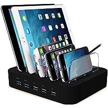 AcTopp Estación de Carga 5 Puertos USB Quick Charge Incluído Base de Carga Universal Cargador Inteligente Organizador de Cables Soporte de Carga Desmontable para Móviles Tablets Multidispositivos Casa Oficina