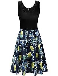 KorMei Damen Ärmelloses Beiläufiges Strandkleid Sommerkleid Tank Kleid  Ausgestelltes Trägerkleid… 22b009d4e9