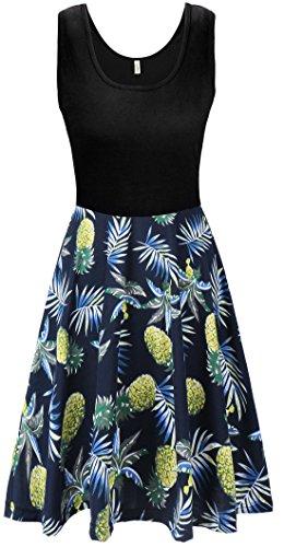 KorMei Damen Ärmelloses Beiläufiges Strandkleid Sommerkleid Tank Kleid Ausgestelltes Trägerkleid Navyblau&Ananas L