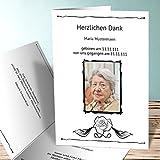 Danksagung Trauerkarten, Schlafende Blüte mit Foto 1000 Karten, Vertikale Klappkarte 105x148 inkl. weiße Umschläge, Weiß