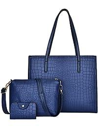 f976a473bfc18 SoonerQuicker 3 Stücke Frauen Alligator Muster Handtasche Schultertasche +  Umhängetasche + Kartenpaket