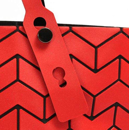 2017 Neu Laserbeutel Faltbeutel Geometrisch Lingge Mode Pu Schultertasche WineRed
