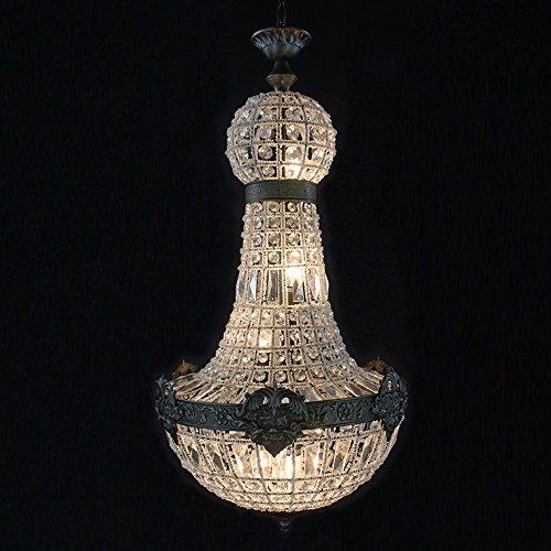 Joeyhome Retro Vintage große runde französischen Empire-Stil led E14 Kronleuchter aus Kristall modern 6 leuchtet Lustre Lampe für Wohnzimmer Lobby - Empire Kristall Kronleuchter