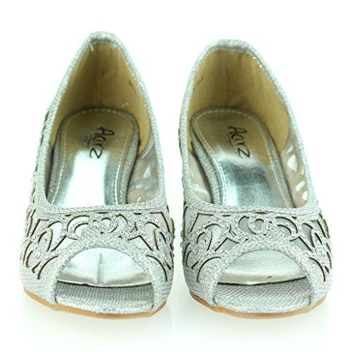 Femmes Dames Soir Mariage Fête Peep Toe Diamante Talon bas Des sandales Chaussures Taille Argent
