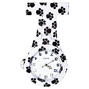 Ellemka – Schwestern | Herren Damen Unisex | FOB Ansteckuhr | Analoge Uhranzeige | Digitales Quartz Uhrwerk | NS-2102 Plastik ABS Pin Band | Art Design – Dog Paws