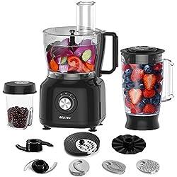 BESTEK Robot de Cocina multifunción 800W, 3-en-1, Procesador de Alimentos y Batidora 1,5L, Copa de Trituración 0,45L para Café y otros ingredientes, Negro