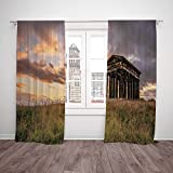 Thermal Insulated Blackout Window Curtain,Home Decor,Ancient Greek Monument at Sunset Sky Landscape with Dark Scenery Europian Heritage Rurals,Multi,Living Room Bedroom Kitchen Cafe Window Drapes 2 Pa Amazon deals